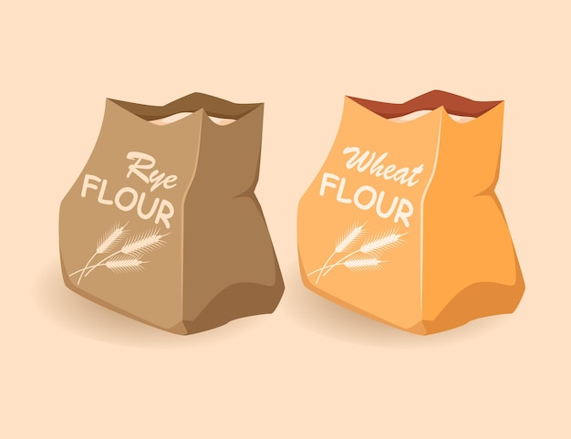 Paper bags with flour wheat rye ecological packaging of products cartoon  flat