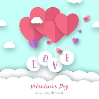 Paper balloon valentine's day background