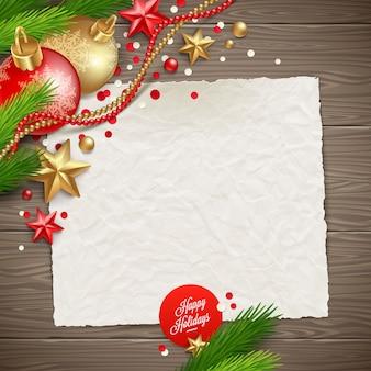 Бумажный баннер для праздничного поздравительного сообщения и рождественского украшения на деревянной текстуре