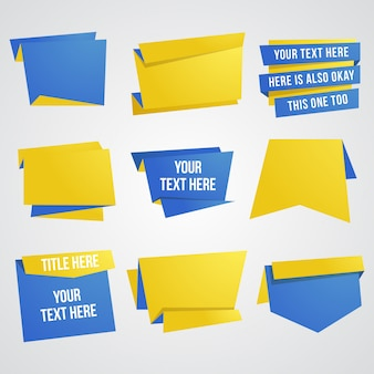 Paper banner and ribbon design element set in blue and yellow