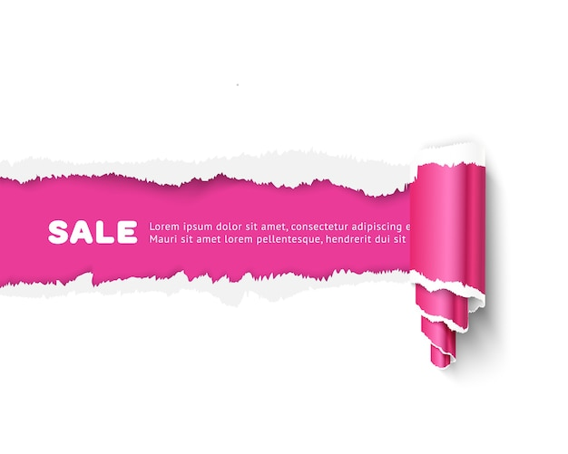 Paper banner with space for text, realistic vector template with paper roll