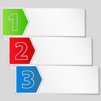 3つのステップの紙のバナー