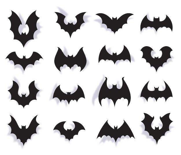 紙コウモリ。翼を持つ不気味な空飛ぶ動物のハロウィーンのシンボル。 3d吸血鬼のパーティーの装飾。怖いコウモリホラー黒シルエットベクトルセット。衣装を着たイベントのお祝いの装飾