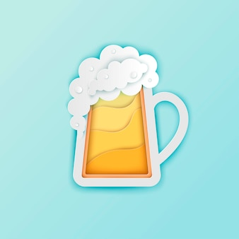 Paper beer mug with white foam and bubbles vector paper cut craft beer poster banner oktoberfest