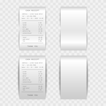 Paper bill cash receipt isolated on transparent background