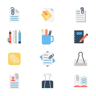 Paper binder flat icon pack