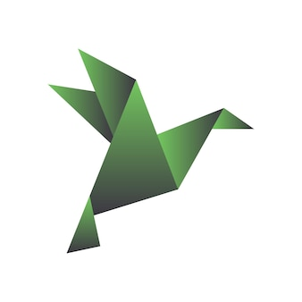 Paper bird in origami style geometric shape of folded paper template for logo