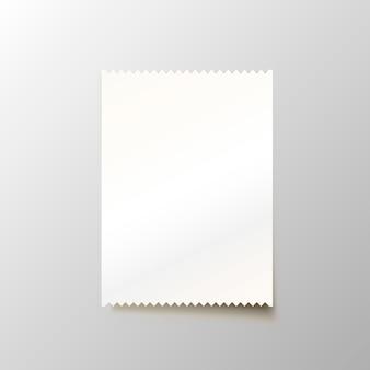 Бумажный чек на белом фоне. векторная иллюстрация