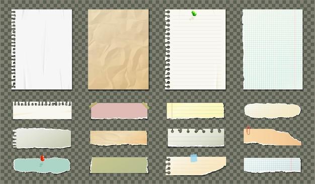 Чистые листы бумаги на прозрачном фоне