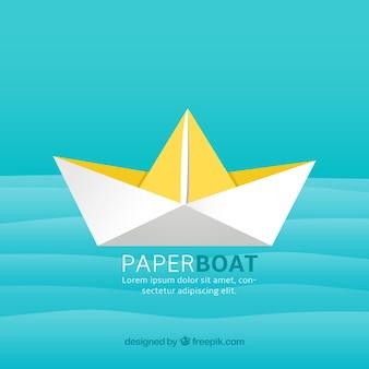 Бумажная лодка фон с желтыми деталями