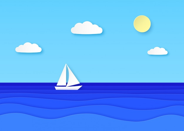 Paper boat floating sea. cloudy sky with sun, sailboat with white sail in blue ocean waves. summer vocation origami  background