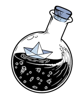 白で隔離のボトルの紙ボート