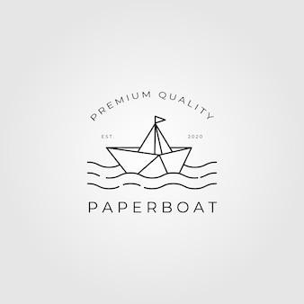 Paper boat logo line art illustration