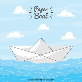 Бумажный корабль парусного фона