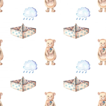 Paper boats rain clouds and cute bear seamless pattern