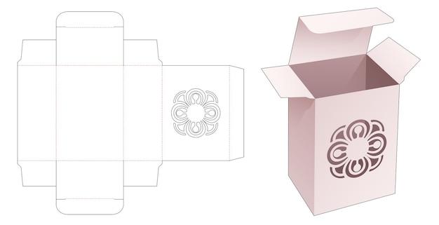 Бумажная коробка с вырезанным по трафарету шаблоном мандалы