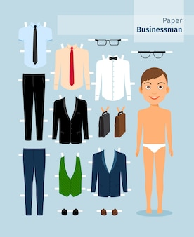 종이 사업가. 양복과 셔츠, 안경 및 서류 가방. 귀여운 드레스 종이 인형. 본문 템플릿. 비즈니스 컬렉션.
