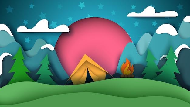 Paper camping landscape.