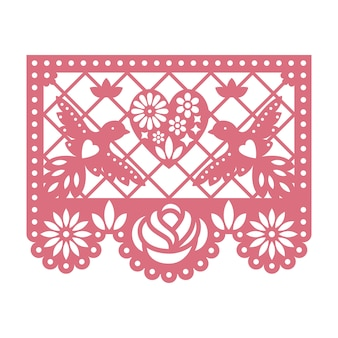 Paper card with cut out flowers, doves and heart.