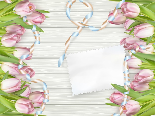 チューリップと紙のカード。