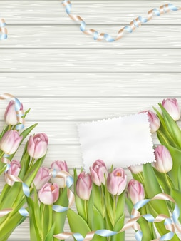 Paper card with tulips.