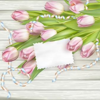 Бумажная карточка с тюльпанами.