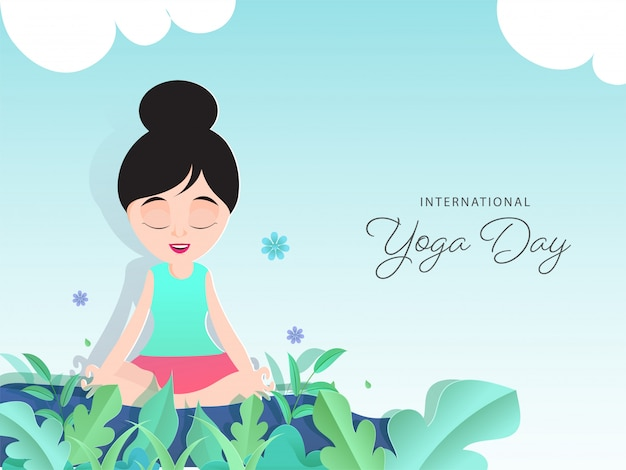 葉と花で瞑想のポーズで座っている紙の漫画の女の子は、国際的なヨガの日のために光沢のある青い背景に飾られました。