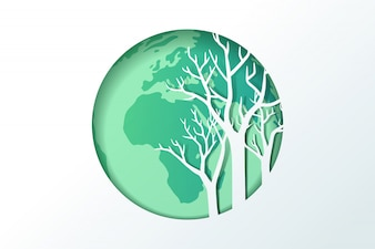 Paper carve to tree and earth