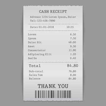 Paper cash sell receipt
