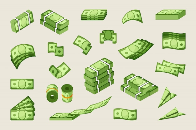 Paper cash single and stacked icons set