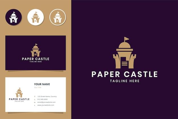 Paper castle negative space logo design