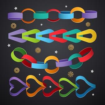 ペーパーチェーン。クリスマスイベントテンプレートの色付きの装飾リンク。チェーンクリスマスリンク手作り、紙の花輪からパーティーのイラスト