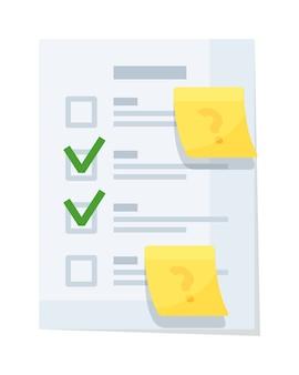Бумажный документ контрольного списка с флажком, изолированным на белом