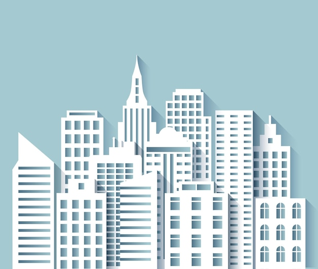 紙の街のスカイライン。白いペーパーカットのモダンな家と高層ビルのある3dアーバン折り紙の街並み。抽象的なメガポリスベクトルパノラマシーン。都市景観の町、都市のグラフィック折り紙イラストを構築