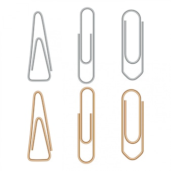 Paper clip, metal paperclip office attach isolated