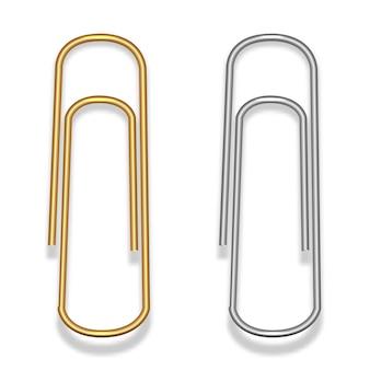 금색과 은색의 금속 와이어로 만든 종이 클립. 문방구.