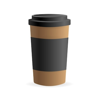 Paper coffee cup in 3d style on white