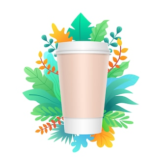 Paper coffee cup design with colorful leaves and plant