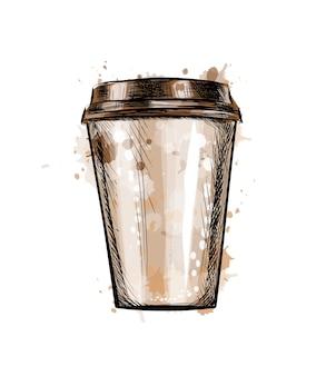 水彩のスプラッシュから紙のコーヒーカップ、手描きのスケッチ。塗料のイラスト