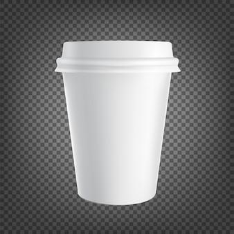 黒透明に分離された紙コーヒーカップアイコン。コーヒーを飲むカップ。