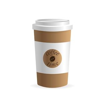 Бумажная кофейная чашка на белом фоне. пусто. , шаблон. кофейный напиток.