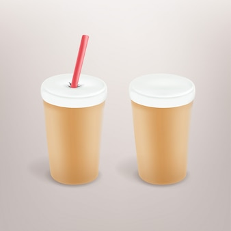 Paper coffee cup with plastic cap and tube