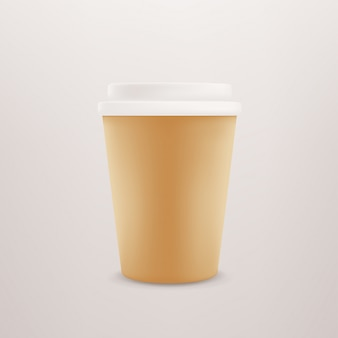 Paper coffee cup with plastic cap.