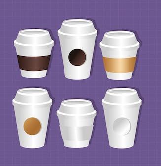 Бумажные кофейные чашки упаковка в градиентном стиле
