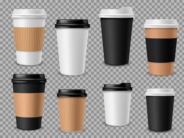 紙のコーヒーカップセット。ホワイトペーパーカップ、ラテモカカプチーノドリンク用の蓋付きの空白の茶色の容器リアルな3dモックアップ