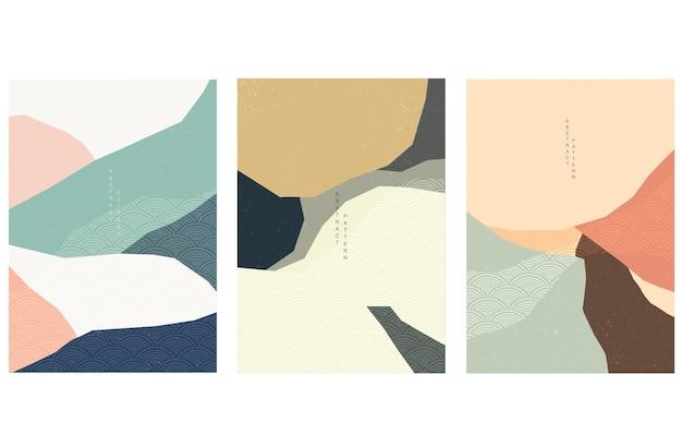 日本の波模様ベクトルと紙のコラージュ。幾何学的要素テンプレートイラストと抽象芸術の背景。