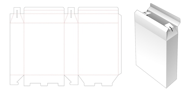 Paper container box die cut template