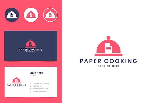 종이 요리 부정적인 공간 로고 디자인