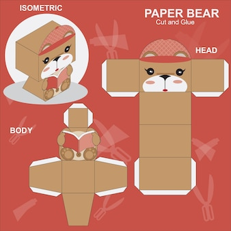 Paper craft bear template