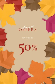 Paper craft leaf template vector in autumn tone for social media ad
